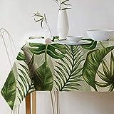 GWELL Grüne Pflanze Tischdecke Leinen Tischtuch Pflegeleichte Tischwäsche Tischläufer Eckig viele Größe Farbe wählbar 90×90cm Blatt-H