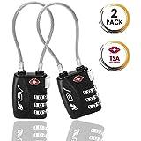 BV BV-TL02, BV TSA-Gepäckschlösser 2 per, Zahlenschloss Kabelschloss Reiseschloss Kofferschloss mit 3-stelligen Zahlencode, TSA-Accepted, Set-Your-Own Combination Travel Lock pair