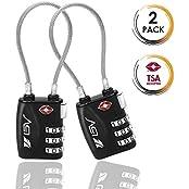 BV TSA-Gepäckschlösser 2 per, Zahlenschloss Kabelschloss Reiseschloss Kofferschloss mit 3-stelligen Zahlencode, TSA-Accepted, Set-Your-Own Combination Travel Lock pair