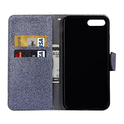 Hülle für iPhone 7 plus , Schutzhülle Für iPhone 7 Plus Glitter Powder Leder Tasche mit Halter & Wallet & Card Slots ,hülle für iPhone 7 plus , case for iphone 7 plus ( Color : White ) Grey