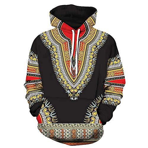 SuperSU Herbst Winter Afrikanischen 3D Print Langarm Dashiki Hoodies Sweatshirt Pullover Pulli Mit Rundhalsausschnitt Männer Print mit Kapuze Langarm Herren Kapuzenpullover Hoodie Kapuze Top -