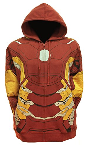 Marvel Comics Herren Comics Iron Man Anzug, Vlies Kostüm Hoodie (XL)