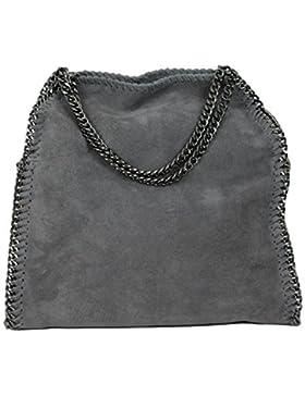 Limited Colors Handtasche VIVIEN Lederlook Damen Schwarz Grau Rosa Jeans Shopper Beuteltasche mit Kette (Grau...