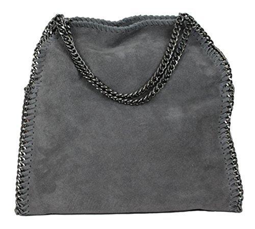 Stella Metallic Tote (Limited Colors Handtasche VIVIEN Lederlook Damen Schwarz Grau Rosa Jeans Shopper Beuteltasche mit Kette (Grau Echtleder))