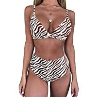 Msikiver Womens Leopard Print Triangle High Waisted Bikini Set Push Up Two Piece Swimsuits