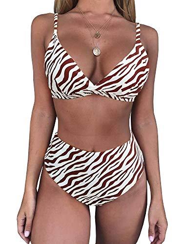 Zebra Bodysuit - Msikiver Damen Bikini-Set mit Leopardenmuster und