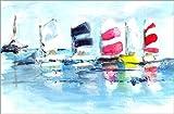 Leinwandbild 100 x 70 cm: Sommerlaune von Maritim - fertiges Wandbild, Bild auf Keilrahmen, Fertigbild auf echter Leinwand, Leinwanddruck