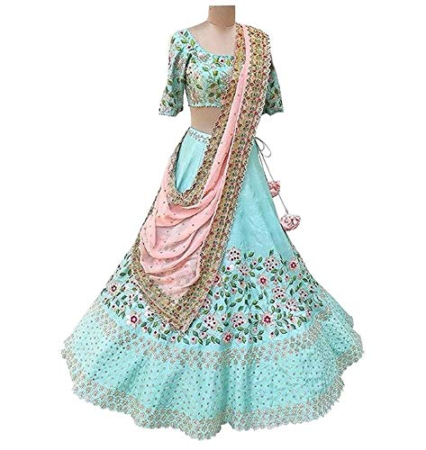 MINIFLY firozi Embroidered Lehenga, Choli and Dupatta Set