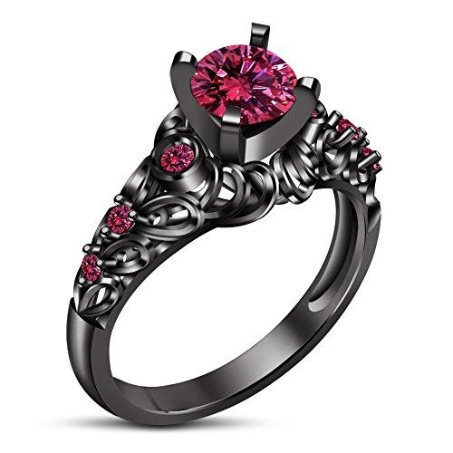 Vorra Fashion Rund Brillantschliff Solitaire mit Akzenten Rosa Saphir schwarz rhodiniert Engagement Ring (Schwarz Und Rosa Saphir-ring)