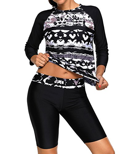 Ecollection Womens Long-Sleeved Rash Vest Mit lange schwimmen kurz (UPF 50 +) (schwarz, XXL EU 44) -