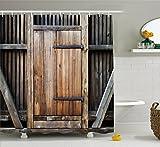Abakuhaus Duschvorhang, Rustikale Antike Holztür Außenfassade aus Ländlichen Eichen Holz mit Bluten Bild Digital Druck, Blickdicht aus Stoff inkl. 12 Ringen Umweltfreundlich Waschbar, 175 X 200 cm