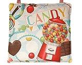 Stuhlkissen für Kinderstuhl, Kinderstuhlkissen mit Bändern, Kinderstuhlkissen mit Candy-Motiven