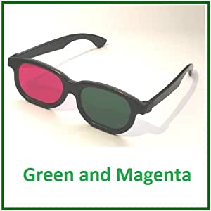 3D Glasses Green and Magenta - For 3D DVD and Blu Ray - Anaglyph