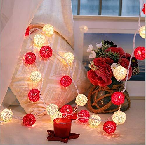 Explosion modelle rot weiß rattan ball lichter blinklichter wasserdicht outdoor indoor urlaub garten party dekoration 5 meter 30 lichter led lichterkette -