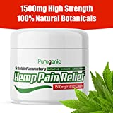 Puraganic Hemp Pain Relief Cream 1500mg - Premium Natural Pain Relief Made from Hemp, Arnica, MSM, Turmeric to Relief Muscle & Joints Tension, Fast Acting & Quick Absorption Hemp Salve, 60ml