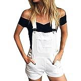 Xmiral Damen Shorts Jumpsuit Baumwolle Lose Denim Latzhose Overalls Jeans Denim (L,Weiß)