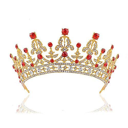 Corona Lega Con Strass Rosso Tiara Capelli Accessori Per Matrimonio Prom