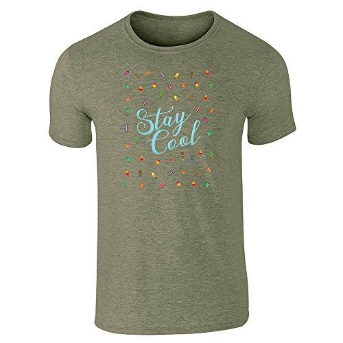 Pop Threads Herren T-Shirt Militärgrün (Heather Military Green)