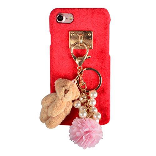 Coque iPhone 6s Plus, Coque iPhone 6 Plus, Lifetrut [Absorption des chocs] Cute Cartoon Lapin blanc Fluffy Pink Peluche Snap Hard Case Retour Housse Furry pour iPhone 6s Plus /6 Plus [Lapin blanc] E211-Perle & Ours