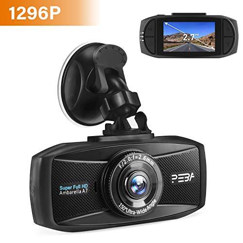 Dashcam Super Full HD 1296p Nachtsicht G-Sensor Autokamera DVR Camcorder 2.7 Zoll LCD-Bildschirm Loop-Aufnahme Auto Dash Camera WDR Bewegungserkennung Parkmonitor PEBA