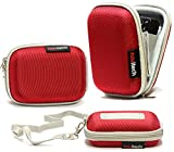 Navitech Rot Wasser Wiederständige Harte Digital Kamera Tasche für das Sony AS200V Action Cam / Sony Cyber-Shot RX100 IV / Panasonic HX-A1