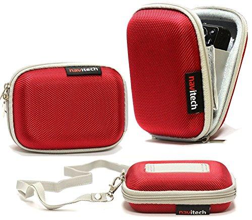 Navitech Rot Wasser wiederständige Harte Digital Kamera Tasche für das Casio Digitalkamera Exilim EX-ZS20