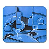 Mauspads Kubismus-blaues Malerei-Stillleben im Avantgarde-Zauntritt mit Vase und Frucht-Flaschen-Schale Mausunterlage für Notizbücher, Tischrechner Mauspads