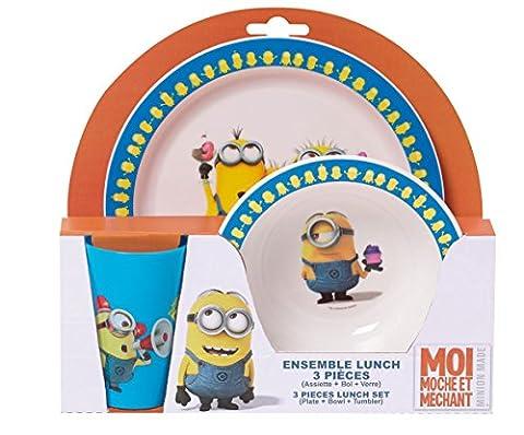 Fun House Moi Moche et Mechant Ensemble lunch : 1 verre + 1 assiette + 1 bol micro-ondable 250 ml