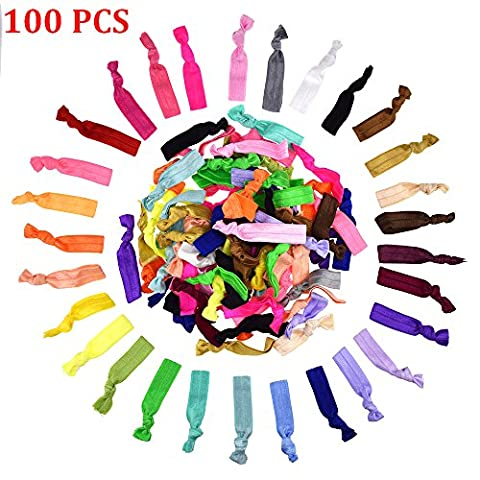 Candora® 100 PCS Colourful Knotted Ribbon Ribbon Hair Ties Hair