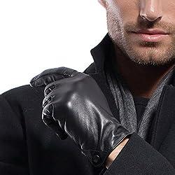 Matsu Hombres Invierno lambksin cálida y suave Guantes de piel con butten M1005 Black-Non TouchScreen
