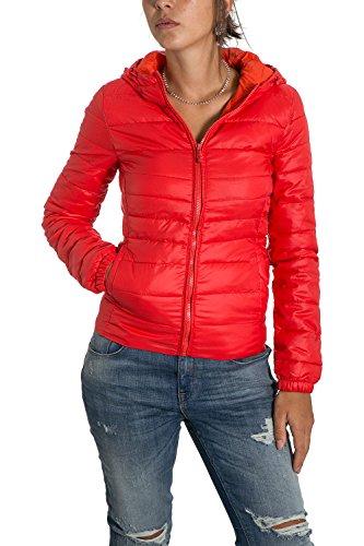 ONLY - Giacchetto piumino 100 grammi leggero con cappuccio tahoe contrast hooded xs rosso