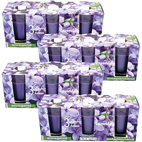 HS Candle Duftkerzen Classic 12er Pack im Glas, lange Brenndauer und angenehmer Duft (Lavendel)