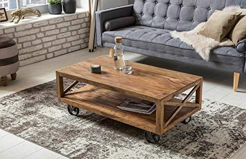 KS-Furniture Pali Table Basse en Bois Massif Sheesham 110 cm de Large Table de Salon Design Marron foncé Style Maison de Campagne avec roulettes