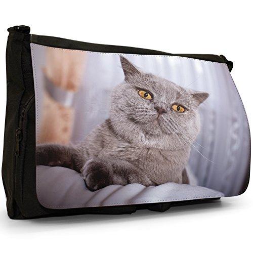 Fancy A Bag Borsa Messenger nero Russian Blue Cat British Shorthair Cat
