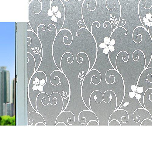 Pegatinas baño,Etiqueta engomada no adhesivo electrostático cristal película helada ventana dormitorio ventana papel aislante hierro forjado ventana-M 50x100cm(20x39inch)