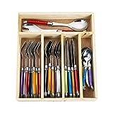 Flying Colors Laguiole Edelstahl Besteck Set. Multicolor Griff, Holz Aufbewahrungsbox, 34 Stück