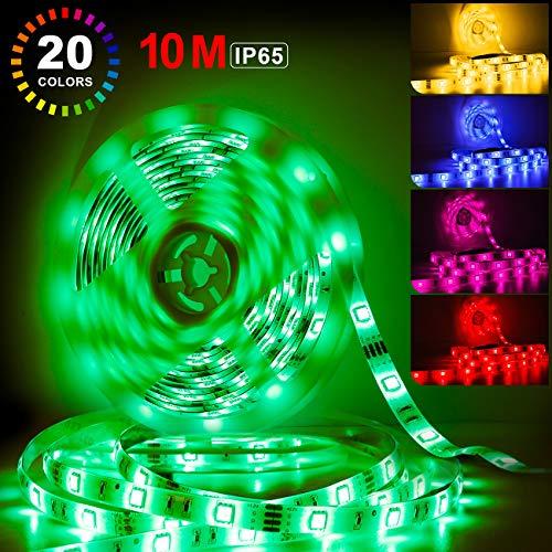 Tonffi 2 Rollen 5m RGB LED Streifen, Wasserdicht LED Strip, 20 Farben LED Band mit Netzteil und Fernbedienung, LED Lichtleiste Bänder Selbstklebend für Wohnzimmer, Schlafzimmer, Party, Balkon usw.