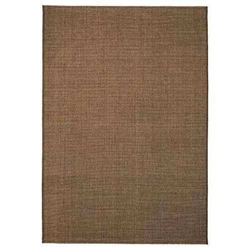 Festnight Webteppich Sisal-Optik Indoor/Outdoor Teppich Textilgewebe Teppiche 160 x 230 cm Braun für Wohnzimmer, Balkon oder Terasse (Outdoor-teppich Braun)