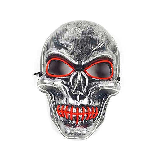 Bloomma halloween luminoso led maschera cucito bocca scheletro light up maschera per costume party dancing show