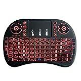 El mini teclado inalámbrico de 2.4GHz, el teclado es una versión de batería de litio con retroiluminación de tres colores y con toque, adecuado para Android Smart TV y computadora con Windows,Red