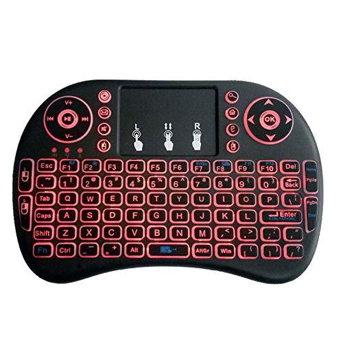 Protable-batterie (ZUKN 2,4 GHz Wireless Mini Keyboard, Tastatur ist Lithium-Batterie-Version mit DREI-Farben-Hintergrundbeleuchtung und Touch, geeignet für Android Smart TV und Windows-Computer,Red)