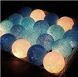 Ghope LED Kugeln Bälle Lampion Lichterkette 20er Partylichterkette Deko für Innen Balkon Party Weihnachten Hochzeit Feiertag Batterie-betrieben 3m Warmweiß Licht ,Blau Serie