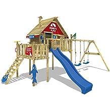 WICKEY Casa sobre pilotes Smart Resort Torre de juegos Torre de escalada con columpio techo de madera escalera inclinada, tobogán azul + lona rojo-azul