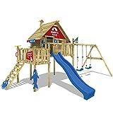 WICKEY Stelzenhaus Smart Resort Spielturm Kletterturm mit Schaukel Holzdach Kletterleiter Spielhaus, blaue Rutsche + rot-blaue Plane