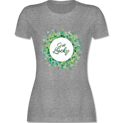 St. Patricks Day - Get Lucky Kleeblatt Glück - L - Grau meliert - L191 - Damen T-Shirt ()