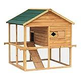 PawHut® Freilaufgehege Hühnerstall Holz Hühnerhaus Kleintierstall Hühnerkäfig Hasenstall Hühner Käfig mit Freigehege (Modell2)