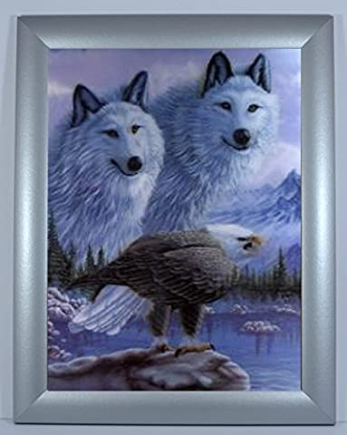 2 Wolves and Eagle: Framed 3 Dimensional Colour Picture, Frame with 3D Iconic Print, Ready to hang, Size: 46x36cm (Silver Frame)