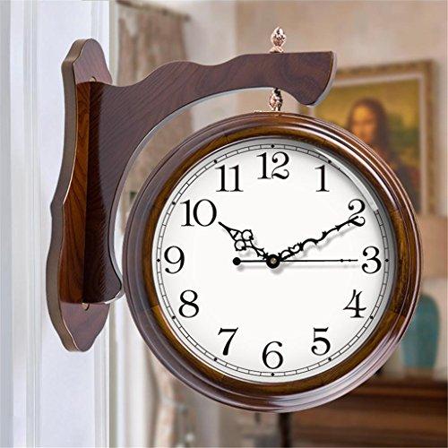Wall Double Sided Clock (Holz große doppelseitige Uhr Wohnzimmer europäischen Retro Stumm Quartz Wanduhr auf beiden Seiten , 001 , 20 inch)