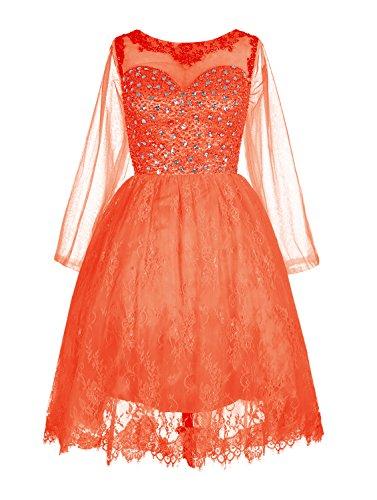 Find Dress Elégant Robe de Bal Mi Longue Princesse Cocktail Pour Mariage Robe Demoiselle d'Honneur Manche Longue Robe de Gala Anniversaire Fête Taille Personnaliser Orange