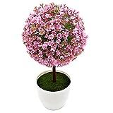 Kompassswc künstlich Topfpflanzen Zimmerpflanzen im topf Kunststoff Pflanzen Fake Mini Baum für Zimmer Büro Hochzeit (Pink)